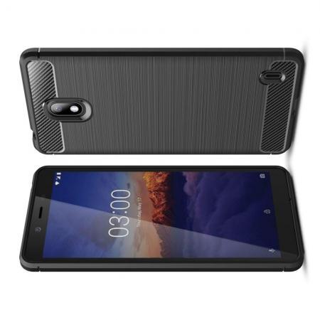Carbon Fibre Силиконовый матовый бампер чехол для Nokia 1 Plus Черный