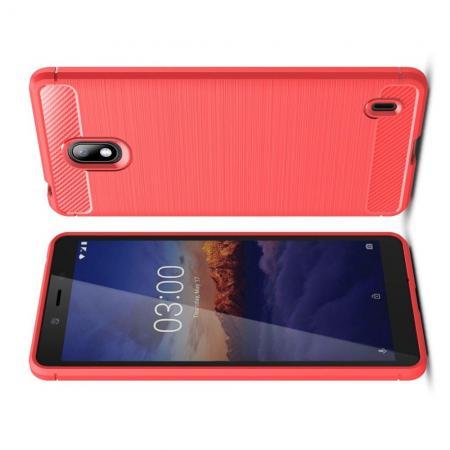 Carbon Fibre Силиконовый матовый бампер чехол для Nokia 1 Plus Коралловый