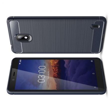 Carbon Fibre Силиконовый матовый бампер чехол для Nokia 1 Plus Синий