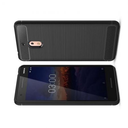 Carbon Fibre Силиконовый матовый бампер чехол для Nokia 2.1 2018 Черный