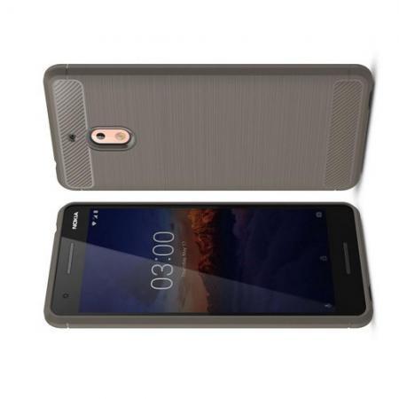 Carbon Fibre Силиконовый матовый бампер чехол для Nokia 2.1 2018 Серый