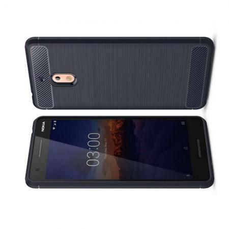 Carbon Fibre Силиконовый матовый бампер чехол для Nokia 2.1 2018 Синий