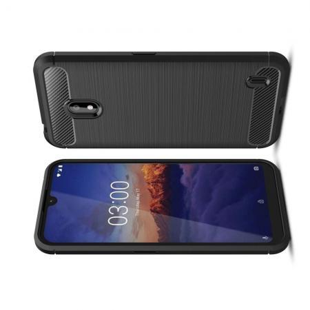 Carbon Fibre Силиконовый матовый бампер чехол для Nokia 2.2 Черный