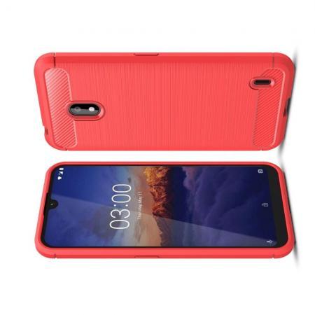 Carbon Fibre Силиконовый матовый бампер чехол для Nokia 2.2 Коралловый