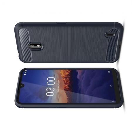 Carbon Fibre Силиконовый матовый бампер чехол для Nokia 2.2 Синий