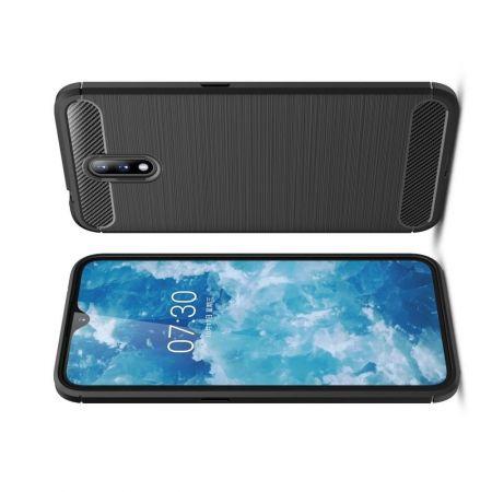 Carbon Fibre Силиконовый матовый бампер чехол для Nokia 2.3 Черный