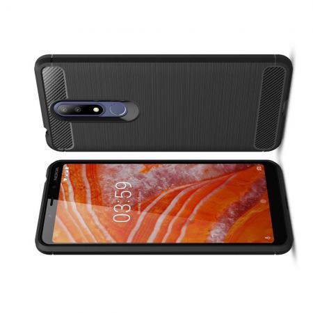 Carbon Fibre Силиконовый матовый бампер чехол для Nokia 3.1 Plus Черный