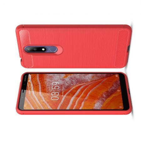 Carbon Fibre Силиконовый матовый бампер чехол для Nokia 3.1 Plus Коралловый