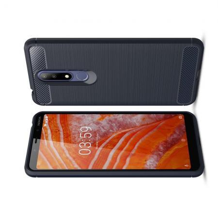 Carbon Fibre Силиконовый матовый бампер чехол для Nokia 3.1 Plus Синий