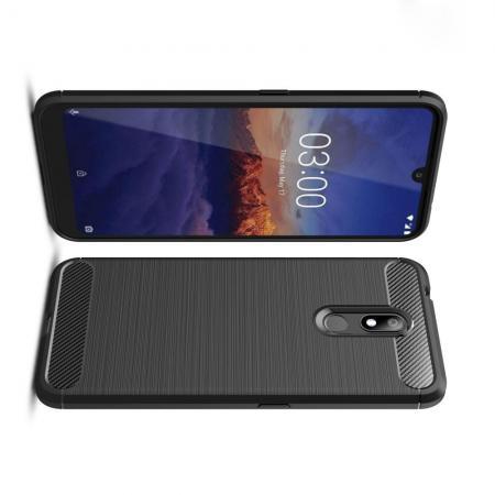 Carbon Fibre Силиконовый матовый бампер чехол для Nokia 3.2 Черный