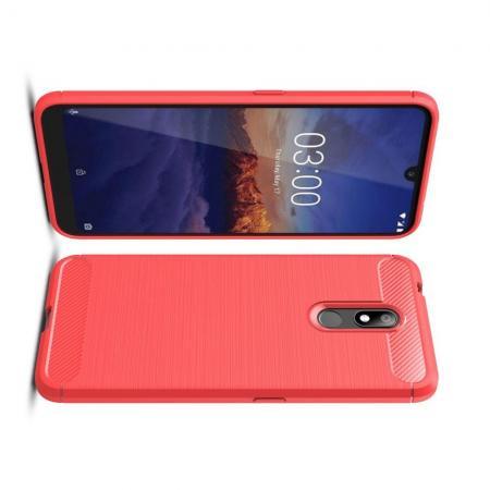 Carbon Fibre Силиконовый матовый бампер чехол для Nokia 3.2 Красный