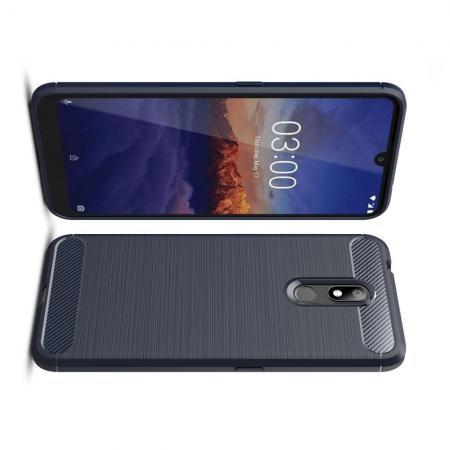 Carbon Fibre Силиконовый матовый бампер чехол для Nokia 3.2 Синий