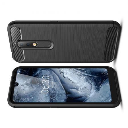 Carbon Fibre Силиконовый матовый бампер чехол для Nokia 4.2 Черный