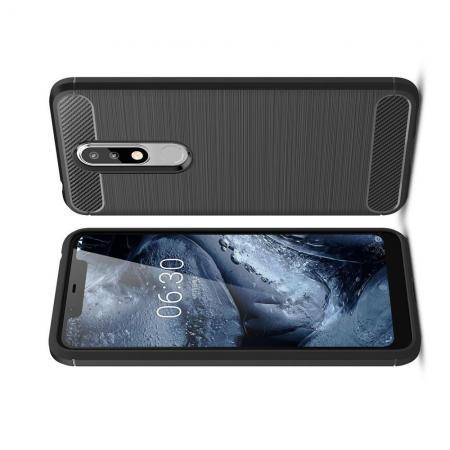 Carbon Fibre Силиконовый матовый бампер чехол для Nokia 5.1 Plus Черный