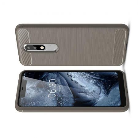 Carbon Fibre Силиконовый матовый бампер чехол для Nokia 5.1 Plus Серый