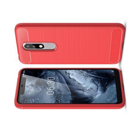 Carbon Fibre Силиконовый матовый бампер чехол для Nokia 5.1 Plus Коралловый