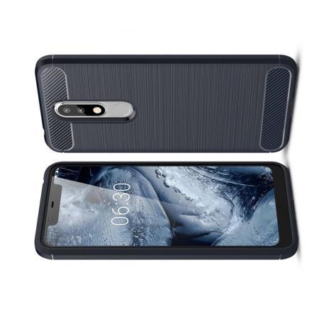 Carbon Fibre Силиконовый матовый бампер чехол для Nokia 5.1 Plus Синий