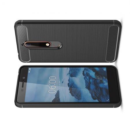 Carbon Fibre Силиконовый матовый бампер чехол для Nokia 6.1 Plus Черный