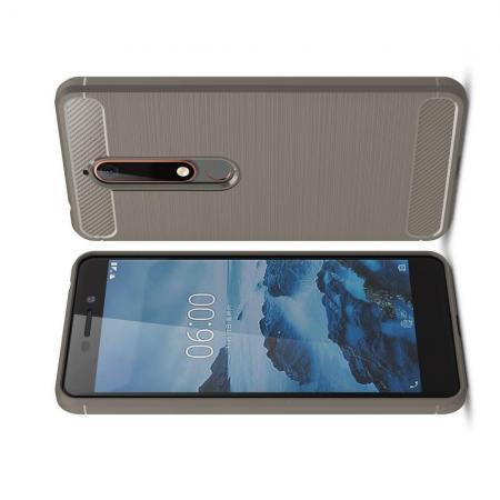 Carbon Fibre Силиконовый матовый бампер чехол для Nokia 6.1 Plus Серый