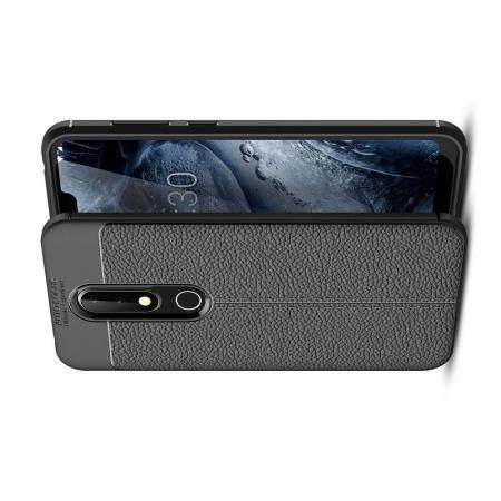Litchi Grain Leather Силиконовый Накладка Чехол для Nokia 6.1 Plus с Текстурой Кожа Черный