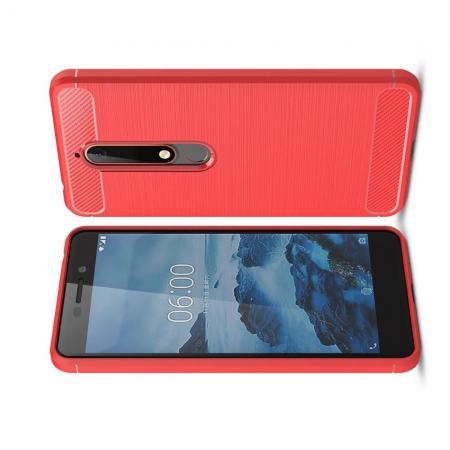 Carbon Fibre Силиконовый матовый бампер чехол для Nokia 6.1 Plus Коралловый