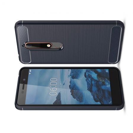 Carbon Fibre Силиконовый матовый бампер чехол для Nokia 6.1 Plus Синий