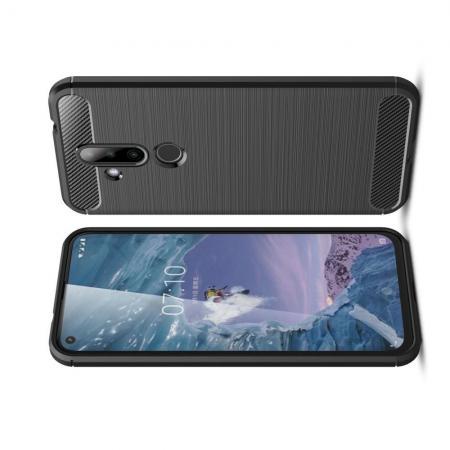 Carbon Fibre Силиконовый матовый бампер чехол для Nokia 6.2 Черный