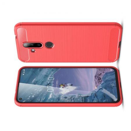 Carbon Fibre Силиконовый матовый бампер чехол для Nokia 6.2 Коралловый