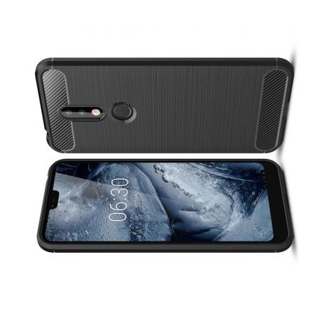 Carbon Fibre Силиконовый матовый бампер чехол для Nokia 7.1 Черный
