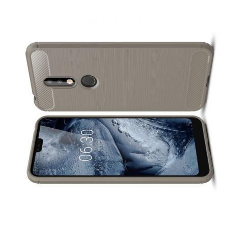Carbon Fibre Силиконовый матовый бампер чехол для Nokia 7.1 Серый
