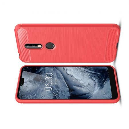 Carbon Fibre Силиконовый матовый бампер чехол для Nokia 7.1 Коралловый