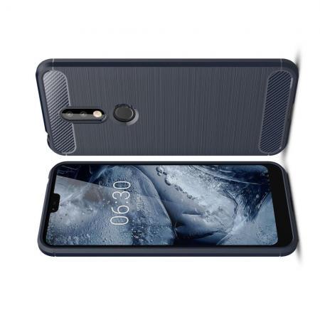 Carbon Fibre Силиконовый матовый бампер чехол для Nokia 7.1 Синий