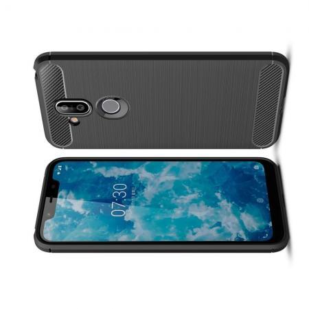 Carbon Fibre Силиконовый матовый бампер чехол для Nokia 8.1 Черный