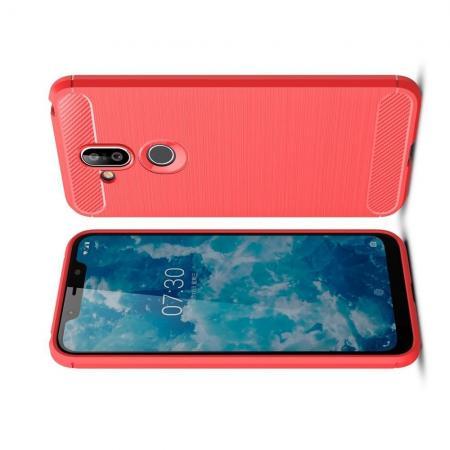 Carbon Fibre Силиконовый матовый бампер чехол для Nokia 8.1 Коралловый