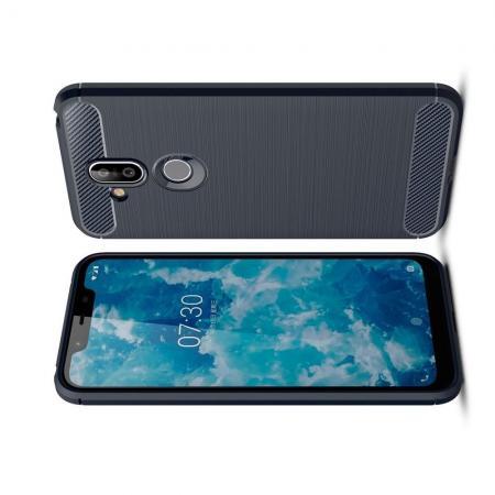 Carbon Fibre Силиконовый матовый бампер чехол для Nokia 8.1 Синий