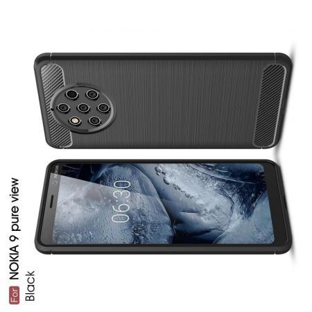 Carbon Fibre Силиконовый матовый бампер чехол для Nokia 9 PureView Черный