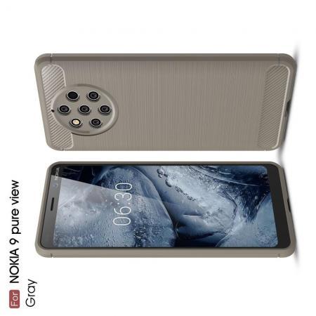 Carbon Fibre Силиконовый матовый бампер чехол для Nokia 9 PureView Серый