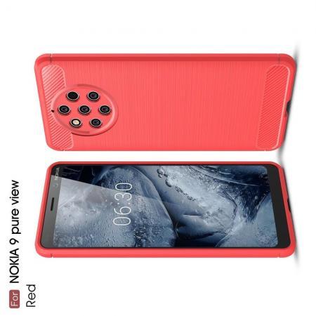Carbon Fibre Силиконовый матовый бампер чехол для Nokia 9 PureView Коралловый