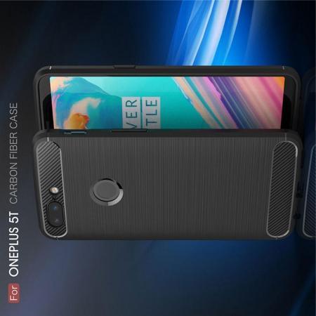 Carbon Fibre Силиконовый матовый бампер чехол для OnePlus 5T Черный
