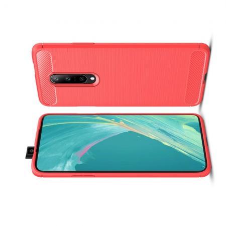 Carbon Fibre Силиконовый матовый бампер чехол для OnePlus 7 Pro Коралловый