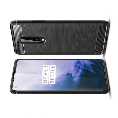 Carbon Fibre Силиконовый матовый бампер чехол для OnePlus 8 Черный