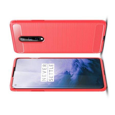 Carbon Fibre Силиконовый матовый бампер чехол для OnePlus 8 Красный