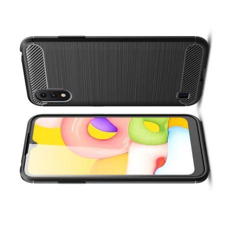 Carbon Fibre Силиконовый матовый бампер чехол для Samsung Galaxy A01 Черный