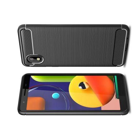 Carbon Fibre Силиконовый матовый бампер чехол для Samsung Galaxy A01 Core Черный