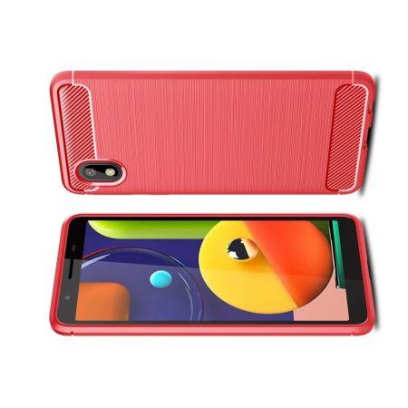 Carbon Fibre Силиконовый матовый бампер чехол для Samsung Galaxy A01 Core Красный