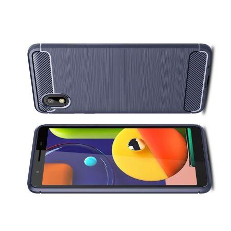 Carbon Fibre Силиконовый матовый бампер чехол для Samsung Galaxy A01 Core Синий