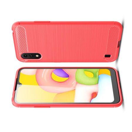 Carbon Fibre Силиконовый матовый бампер чехол для Samsung Galaxy A01 Красный