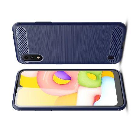 Carbon Fibre Силиконовый матовый бампер чехол для Samsung Galaxy A01 Синий