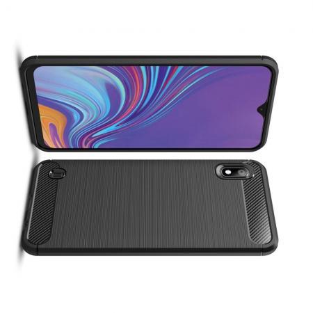 Carbon Fibre Силиконовый матовый бампер чехол для Samsung Galaxy A10 Черный