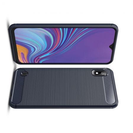 Carbon Fibre Силиконовый матовый бампер чехол для Samsung Galaxy A10 Синий